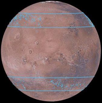 Le zone di Marte dove sono stati individuati importanti accumuli di ghiaccio d'acqua, coperti da uno spesso strato di polvere. Crediti: Mars Digital Image Model, NASA/Nanna Karlsson