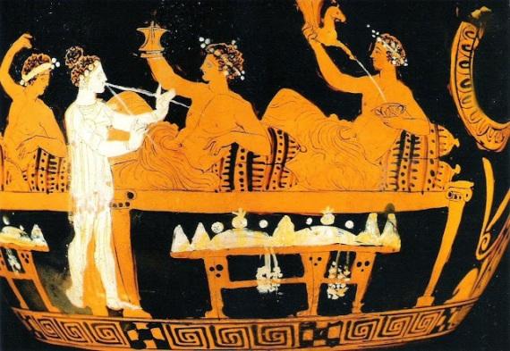 Banchetto con etère nell'antica Grecia: gli amanti erano ostentati, le amanti nascoste.