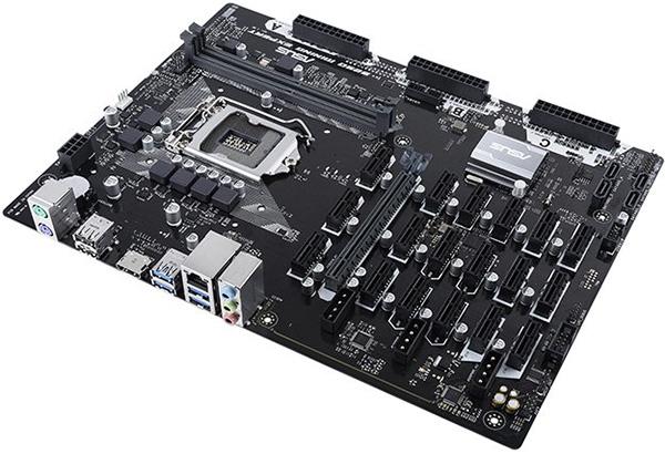 una scheda madre per mining con GPU: moltisismi slot PCI Express 1x per controllare più schede con un solo sistema