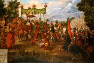 Nell'illustrazione, il condottiero spagnolo Hernán Cortés con l'imperatore azteco Montezuma, nel 1519. Il numero dei morti causati dai Conquistadores è difficile da accertare perché non sappiamo quanti fossero gli indigeni all'arrivo degli spagnoli.| CONTRASTO/LEBRECHT MUSIC & ARTS