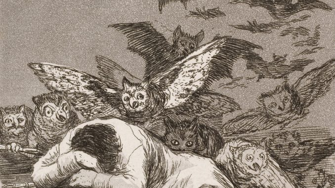 Francisco Goya: Il sonno della ragione genera mostri (1799). Dettaglio:clicca per l'immagine completa.