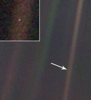 """Un particolare di """"Pale Blue Dot"""". Crediti: Nasa Jpl"""
