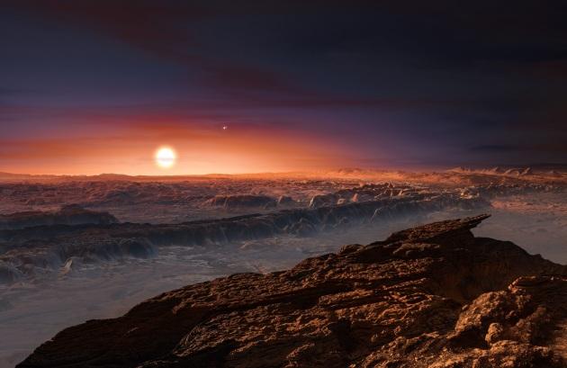 Illustrazione: scoperto nell'agosto del 2016, Proxima Centauri b è uno dei due pianeti che orbitano attorno alla nana rossa Proxima Centauri, la stella più vicina al Sistema Solare. È l'esopianeta più vicino alla Terra, e si trova nella fascia abitabile della sua stella.