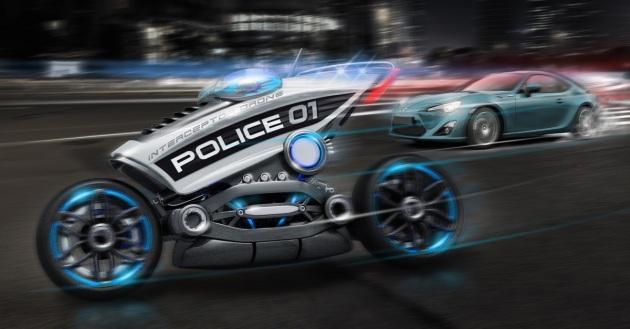 Come potrebbe essere una macchina della polizia del futuro senza agenti alla guida? Il designer Charles Bombardier se le immagina così. Ford è andata oltre, brevettando un sistema di controllo stradale che prevede pattuglie senza conducente. Charles Bombardier