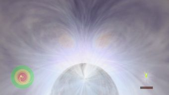 Varcato l'orizzonte degli eventi, in prossimità dell'orizzonte di Cauchy, l'universo esterno appare luminoso e la luce vira al blu (blue-shift). Crediti: John Hawley (University della Virginia).