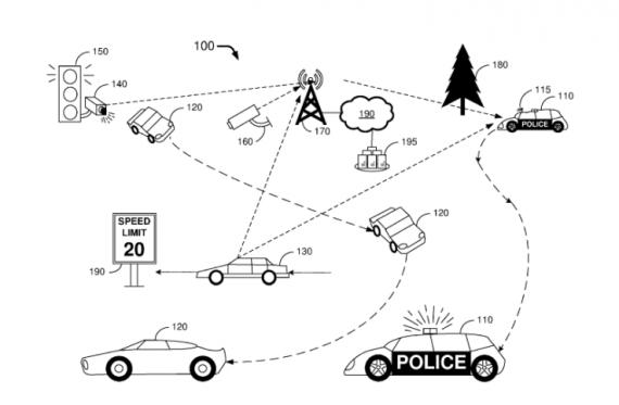 Una delle illustrazioni presentate nella richiesta di brevetto. Il caso di infrazioni al codice della strada un sofisticato sistema di sensori e autovelox allerta l'autopattuglia senza conducente.   Ford Global Technologies, LLC.