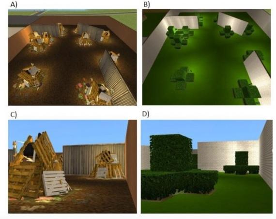 Stessa disposizione spaziale, ambientazione diversa: la realtà virtuale usata per indurre un déjà-vu.| CLEARY ET AL./PSYCHOLOGICAL SCIENCE