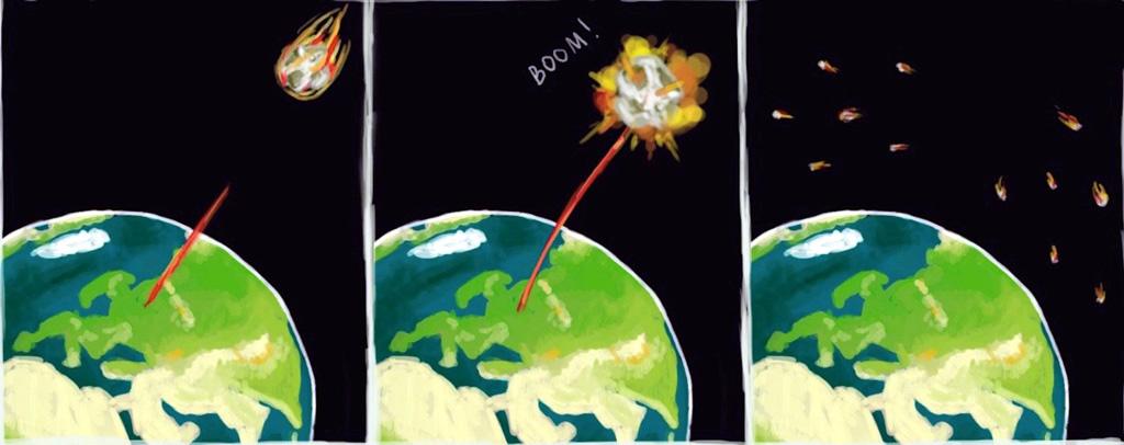 Illustrazione artistica della distruzione di un pericoloso asteroide. Crediti: Elena Khavina, Mipt Press Office