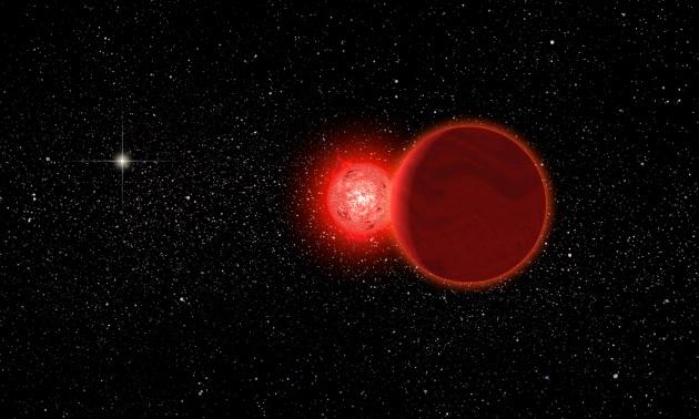 Rappresentazione artistica della stella di Scholz e della sua compagna nana bruna (in primo piano) durante il loro passaggio ravvicinato al Sistema Solare, 70.000 anni fa. Dal loro punto di vista, il Sole (a sinistra sullo sfondo) sarebbe apparso come una stella molto brillante.|Michael Osadciw / University of Rochester