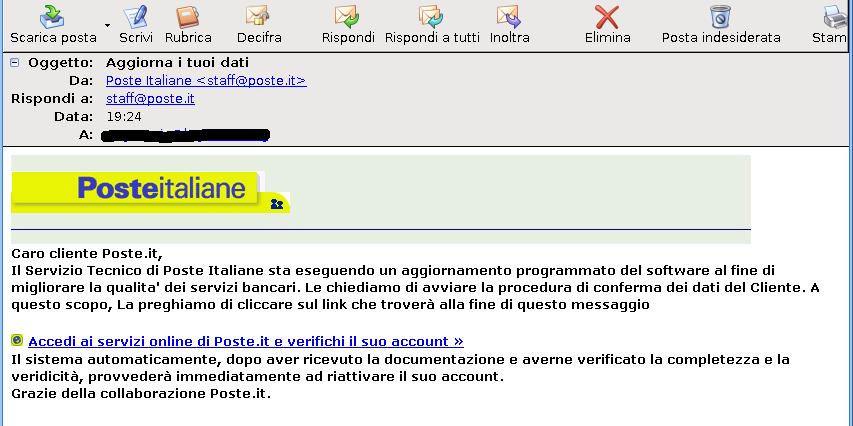 """Un'email """"esca"""" con il finto profilo di Poste Italiane"""