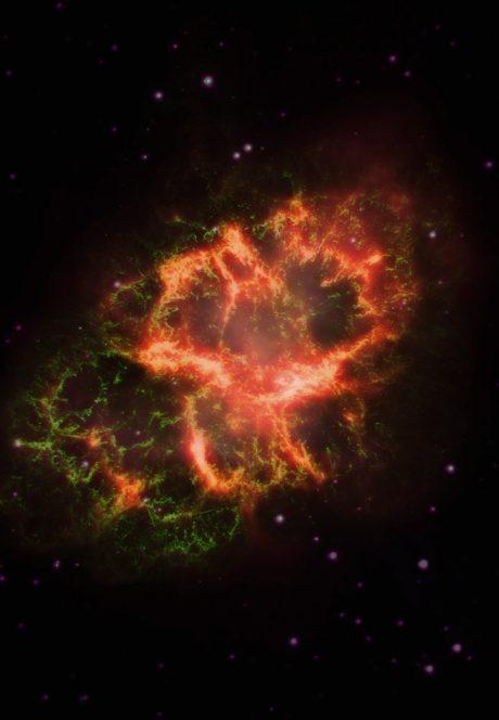 Immagine composita che mostra i dati all'infrarosso (in rosso), luce visibile (verde) e ultravioletto (viola) della Nebulosa del Granchio. Crediti: J. Greaves