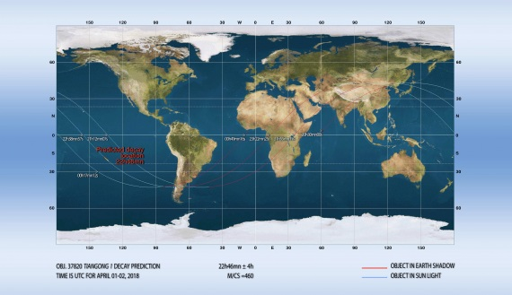 Il luogo dove potrebbe precipitare Tinagong-1 se verrà confermata la previsione di Joseph Remis