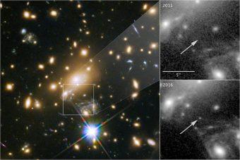 Immagine composita della scoperta della stella più distante singolarmente individuata. Crediti: NASA/ESA e P. Kelly (University of California, Berkeley)