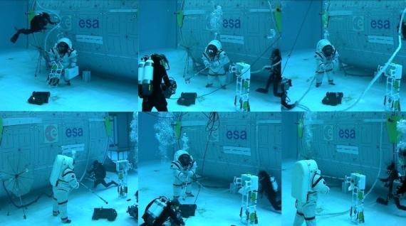 Alcune fasi dell'attività svolta dagli astronauti durante il progetto Moondive. | Esa
