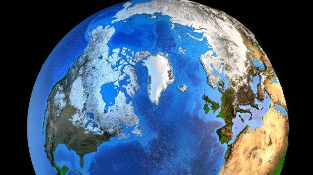 La Terra vista da una prospettiva settentrionale, in un'illustrazione scientifica con elementi forniti dalla Nasa.|SHUTTERSTOCK