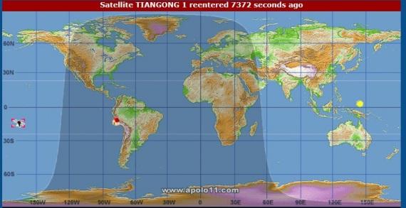 Il punto in cui è rientrata Tiangong-1 secondo Satview| SATVIEW