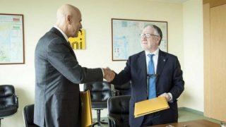 L'ad Eni Claudio Descalzi (a sinistra) e Massimo Inguscio, presidente del Cnr