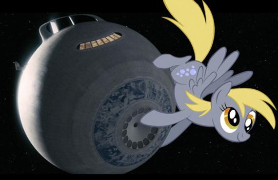 Una delle (im)probabili configurazioni della Cuore d'Oro (Heart of Gold), nave spaziale spinta da un motore a improbabilità infinita nella Guida galattica per gli autostoppisti.