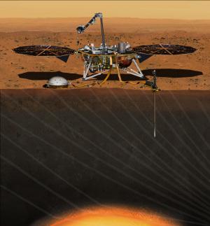 Oltre al sismografo (a sinistra), vi sarà anche una sonda che scenderà fino a 5 metri di profondità per rilevare il flusso di calore proveniente dall'interno del pianeta | NASA