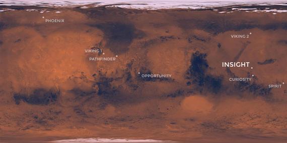 La posizione delle sonde atterrate su Marte, compresa quella di InSight | NASA