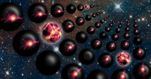 Rappresentazione artistica dei molteplici universi possibili, ognuno con una diversa distribuzione di energia oscura.|JAIME SALCIDO/SIMULATIONS BY THE EAGLE COLLABORATION