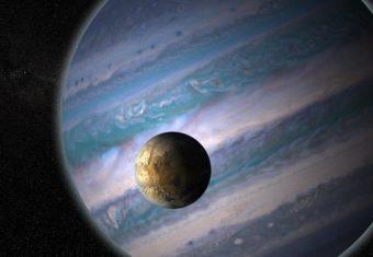 Impressione d'artista di una esoluna potenzialmente abitabile in orbita attorno a un pianeta gigante in un distante sistema solare. Crediti: Nasa Gsfc: Jay Friedlander e Britt Griswold