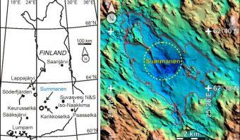 A sinistra, la posizione esatta del cratere da impatto nel lago Summanen in Finlandia, rispetto agli altri undici rilevati nell'area nel paese scandinavo. Nella figura di destra, invece, la linea tratteggiata identifica il litorale del lago scandinavo. Crediti: Jüri Plado
