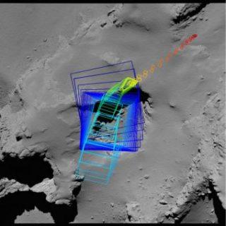 Mappa delle ultime immagini riprese da Rosetta prima di terminare la missione sulla cometa. Crediti: ESA/Rosetta/MPS for OSIRIS Team MPS/UPD/LAM/IAA/SSO/INTA/UPM/DASP/IDA