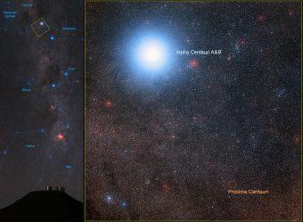 Immagine ottica di Alpha Centauri nella quale si vedono le due stelle A e B e la compagna più distante, Proxima Centauri. Crediti: Eso/B. Tafreshi (twanight.org)/Digitized Sky Survey 2; Acknowledgement: Davide De Martin/Mahdi Zamani