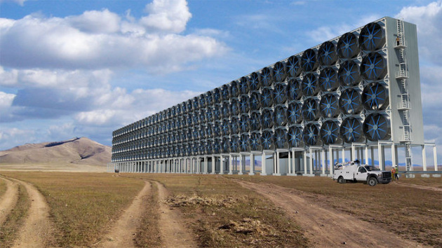 Torri equipaggiate di ventole per il sequestro di CO2: un rendering dell'impianto progettato da Carbon Engineering.|Carbon Engineering