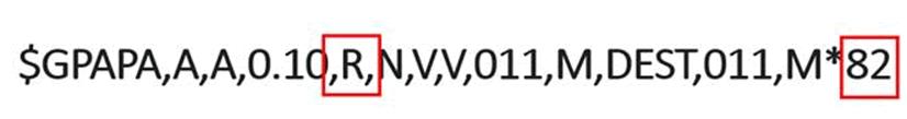 """Questa è la sintassi di un comando inviato dal pilota automatico al timone. Modificando la """"R"""" con una """"L"""" si inverte la virata."""