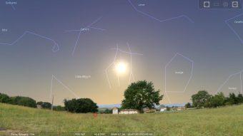 Il Sole all'afelio, il prossimo 6 luglio. Software Stellarium, centrato su Bologna