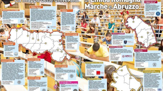 Visualizza la mappa delle università di Emilia Romagna, Marche e Abruzzo