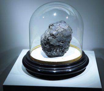 La meteorite carbonacea di Orgueil, in foto nella teca di trenta centimetri di diametro nella quale è attualmente esposta al Muséum National d'Histoire Naturelle di Parigi. Cadde nel 1864 nel sudovest della Francia ed è tra le condriti analizzate nello studio del team di Tartèse. Crediti: K. H. Joy