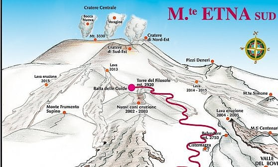 La cartina del Gruppo guide alpine Etna sud