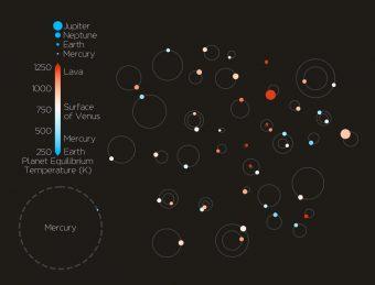 Schema dei 44 pianeti confermati, con dimensioni approssimative, orbite e temperature superficiali. Crediti: John Livingston
