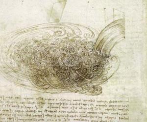 Appunti di Leonardo da Vinci sul movimento dell'acqua.