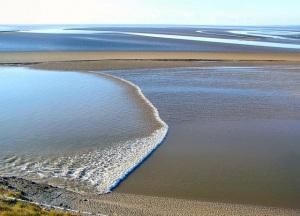 Un'onda mareale risale un estuario inglese.