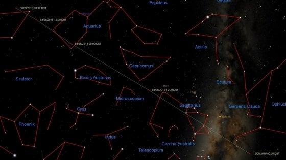 La mappa del cielo dove transiterà l'asteroide 2018 RC dall'8 al 10 settembre: dalla costellazione dell'Acquario si sposterà verso il Capricorno e il Sagittario (Immagine: Gianluca Masi - Virtualtelescope)