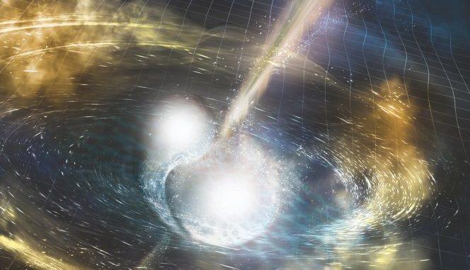 Illustrazione di due stelle di neutroni che si fondono. Le increspature nella griglia dello spazio-tempo rappresentano le onde gravitazionali prodotte dallo scontro, mentre i fasci luminosi mostrano i lampi di raggi gamma esplosi pochi secondi dopo le onde gravitazionali. Sono inoltre raffigurate vorticose nubi di materiale espulso dalle stelle in fusione, nubi che si illumineranno in luce a diverse lunghezze d'onda, comprese quelle visibili. Crediti: Nsf/Ligo/Sonoma State University/A. Simonnet