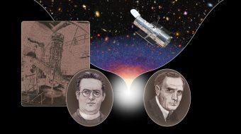 Georges Lemaître (in basso a sinistra) ed Edwin Hubble (in basso a destra) . Crediti: Nasa/Esa/A. Feild (Stsci)