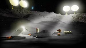 Illustrazione: un insediamento scientifico/minerario sulla Luna.