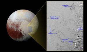 Pianure, dune e ghiacciai. Tutto questo in un'area di 500 x 340 km. | NASA/JHUAPL/SwRI