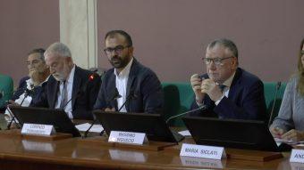 Un momento della conferenza stampa presso la sede del Ministero dell'Istruzione, Università e Ricerca a Roma