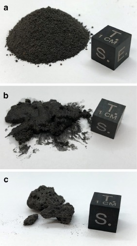Processing MGS-1 primary phases. (a) Mixed primary phases, including plagioclase, basaltic glass, pyroxene, olivine and magnetite. (b) Paste formed from primary phases, water, and sodium metasilicate. (c) Resulting solid cobble formed after the paste is dried and solidified.
