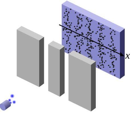 Schema dell'esperimento della doppia fenditura (Wikimedia Commons)