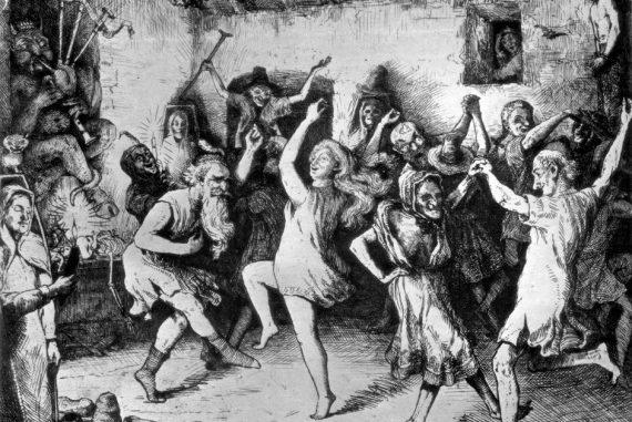 Un sabba in una stampa del 1650. Feste notturne della tradizione popolare pagana, i sabba vennero poi vietati e i partecipanti furono considerati indemoniati.