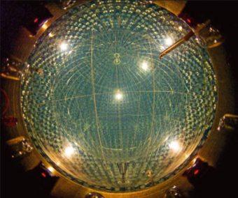 Lo strumento Borexino sotto il Gran Sasso rileva i neutrini che interagiscono con gli elettroni di uno scintillatore liquido organico purissimo al centro di una grande sfera, circondato da mille tonnellate di acqua. Crediti: Borexino/Infn