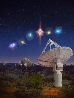 Rappresentazione artistica di Askap intento a osservare i fast radio bursts. Crediti: OzGrav, Swinburne University of Technology