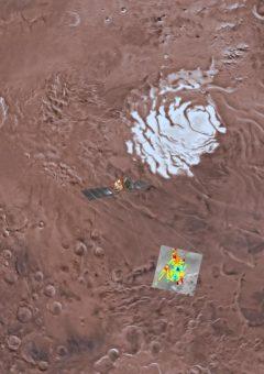 Impressione artistica del veicolo spaziale Mars Express che sonda l'emisfero sud di Marte, sovrapposto a un mosaico di colori di una porzione di Planum Australe. L'area di studio è evidenziata utilizzando un mosaico di immagini THEMIS IR. La potenza del segnale dell'eco proveniente dal sottosuolo è codificata per colore e il blu intenso corrisponde ai riflessi più forti, che sono interpretati come causati dalla presenza di acqua. Crediti: USGS Astrogeology Science Center, Arizona State University, Esa, Inaf. Elaborazione grafica di Davide Coero Borga – Media Inaf